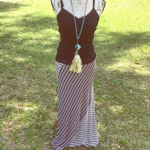 Joe B Medium Black Asymmetrical Stripe Maxi Skirt